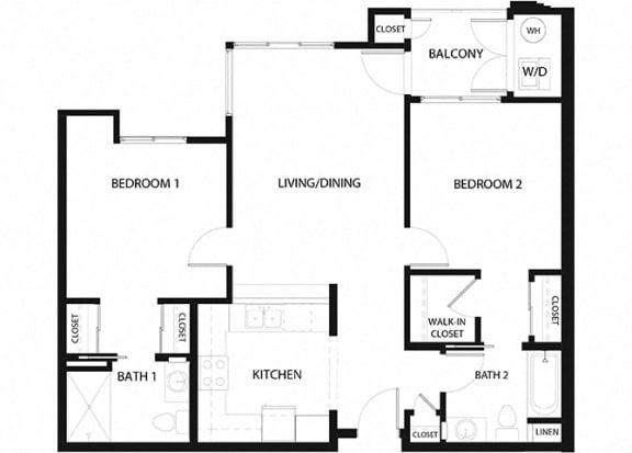 Plan 12 2 Bedroom 2 Bathroom Floor Plan at Hancock Terrace Apartments, Santa Maria, CA, 93454