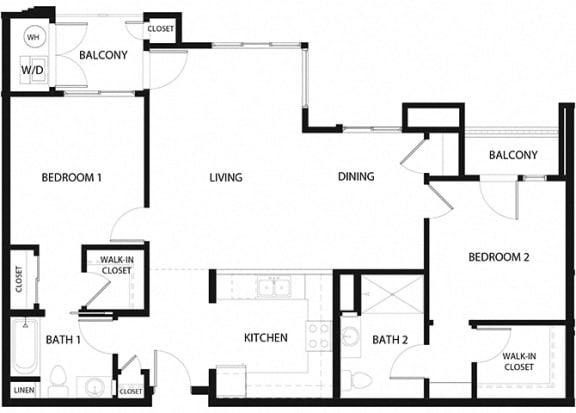 Plan 14 2 Bedroom 2 Bathroom Floor Plan at Hancock Terrace Apartments, Santa Maria, 93454