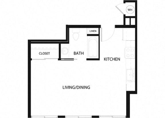 Plan 1 1 Bedroom 1 Bathroom Floor Plan at Hancock Terrace Apartments, Santa Maria, California