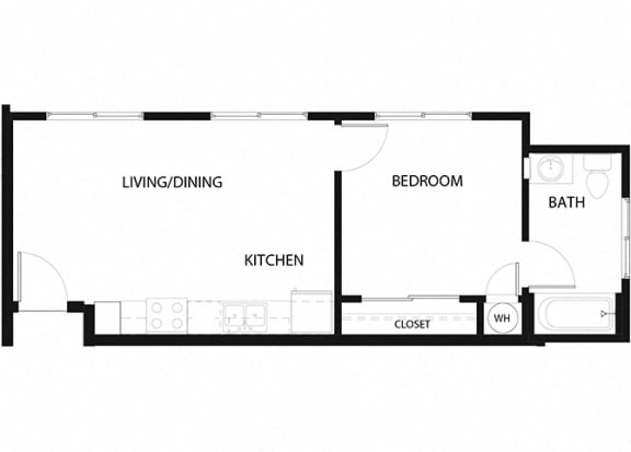 Plan 2 1 Bedroom 1 Bathroom Floor Plan at Hancock Terrace Apartments, Santa Maria