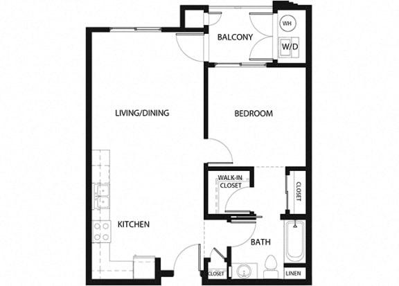 Plan 3 1 Bedroom 1 Bathroom Floor Plan at Hancock Terrace Apartments, California