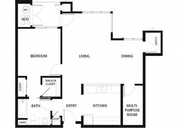 Plan 7 1 Bedroom 1 Bathroom Floor Plan at Hancock Terrace Apartments, Santa Maria, 93454