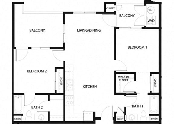 Plan 8 2 Bedroom 2 Bathroom Floor Plan at Hancock Terrace Apartments, Santa Maria, California