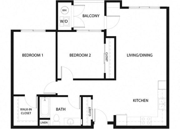Plan 9 2 Bedroom 1 Bathroom Floor Plan at Hancock Terrace Apartments, Santa Maria