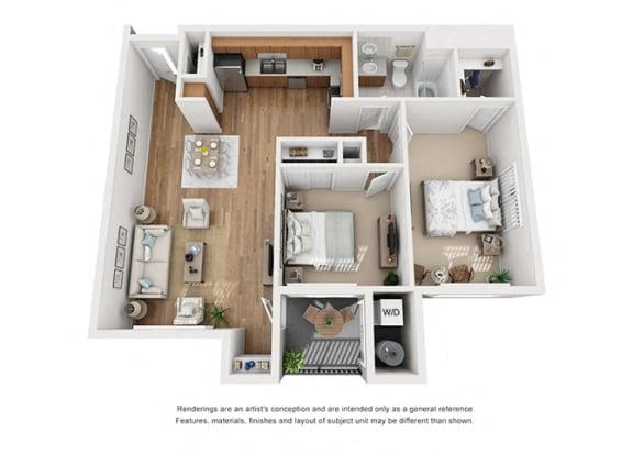 Plan 10 2 Bedroom 1 Bathroom 3D Floor Plan at Hancock Terrace Apartments, California, 93454