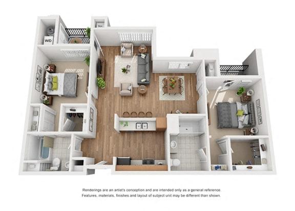 Plan 14 2 Bedroom 2 Bathroom 3D Floor Plan at Hancock Terrace Apartments, Santa Maria, California