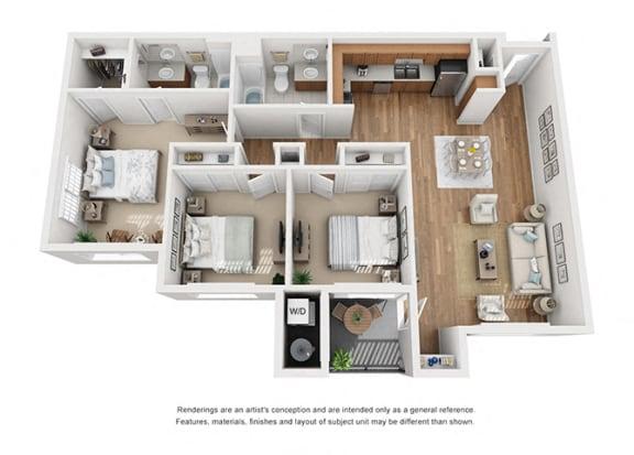 Plan 15 3 Bedroom 2 Bathroom 3D Floor Plan at Hancock Terrace Apartments, Santa Maria