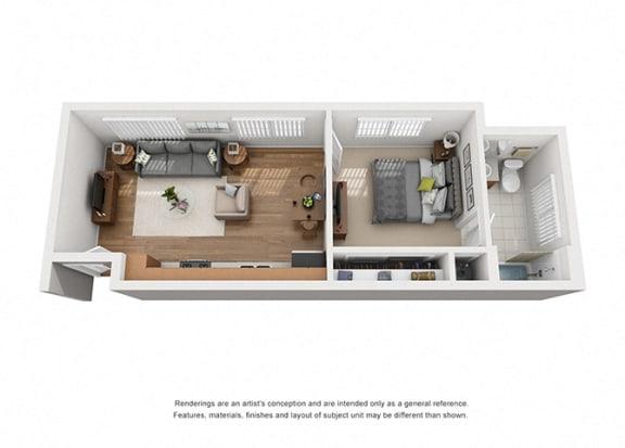 Plan 2 1 Bedroom 1 Bathroom 3D Floor Plan Layout at Hancock Terrace Apartments, California