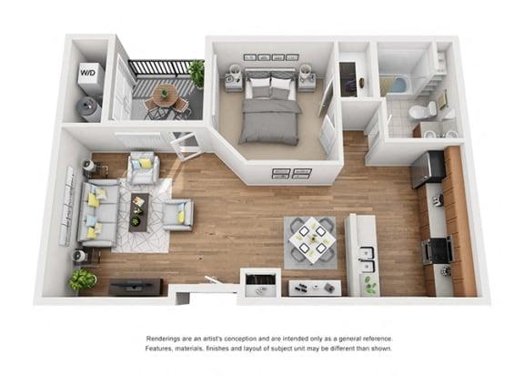 Plan 4 1 Bedroom 1 Bathroom 3D Floor Plan Layout at Hancock Terrace Apartments, Santa Maria, CA, 93454