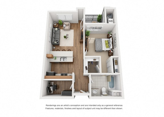 Plan 5 1 Bedroom 1 Bathroom 3D Floor Plan Layout at Hancock Terrace Apartments, Santa Maria, CA
