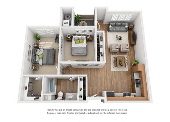 Plan 9 2 Bedroom 1 Bathroom 3D Floor Plan at Hancock Terrace Apartments, California