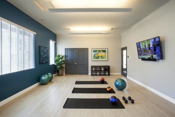 Flex Rooms With Fitness Space For Yoga, Spin And Pilates at Hancock Terrace Apartments, Santa Maria
