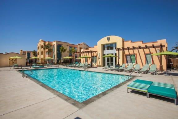 Blue Cool Swimming Pool at Hancock Terrace Apartments, Santa Maria, CA, 93454