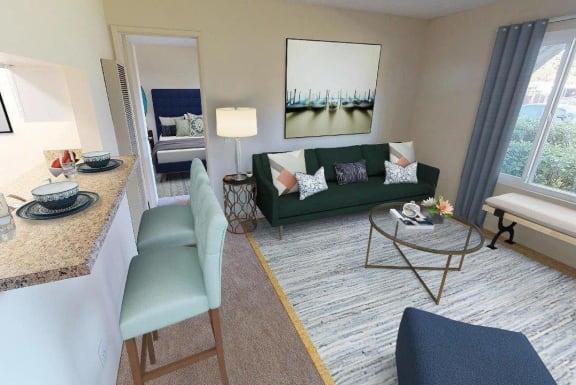 Classic Living Room Design at Oceanwood Apartments, California, 93436