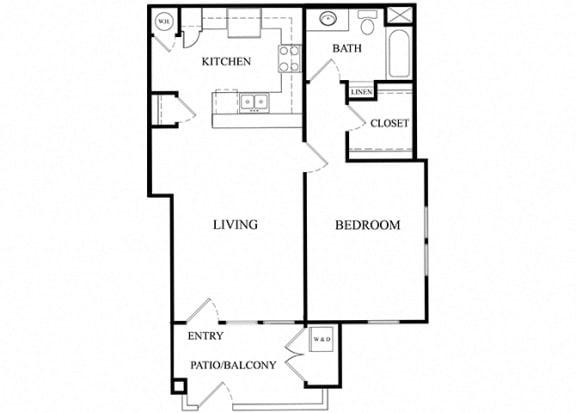 1 bed 1 bath Floorplan C, at Ralston Courtyard Apartments, Ventura, CA 93003