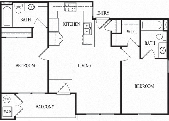 2 bed 2 bath Floorplan D, at Ralston Courtyard Apartments, California, 93003