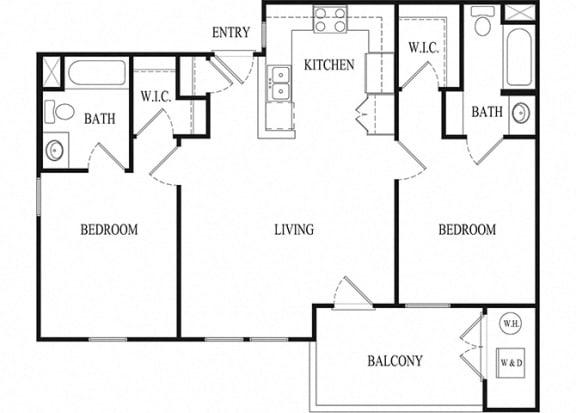 2 bed 2 bath Floorplan E, at Ralston Courtyard Apartments, California