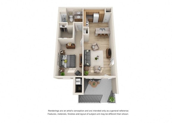 1 bed 1 bath  Floorplan A 3D, at Ralston Courtyard Apartments, California