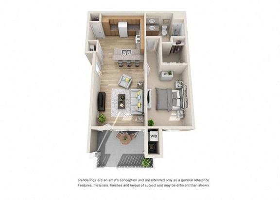 1 bed 1 bath Floorplan B 3D, at Ralston Courtyard Apartments, California, 93003