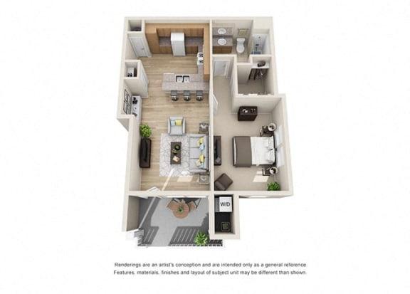 1 bed 1 bath  Floorplan C 3D, at Ralston Courtyard Apartments, Ventura, CA 93003