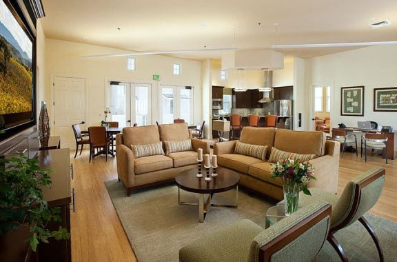 Sitting space in clubhouse, at Ralston Courtyard Apartments, Ventura
