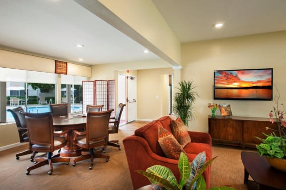 Sitting area in clubhouse, at Shepard Place, California, 93013
