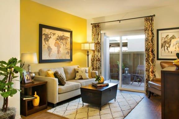 Large windows is Living room, at Siena Apartments, Santa Maria California