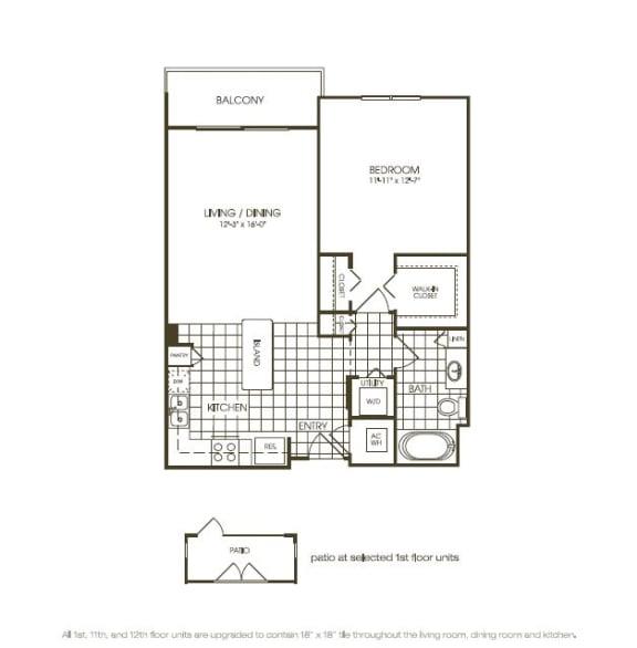 Floor Plan  One Bedroom Floorplan illustration