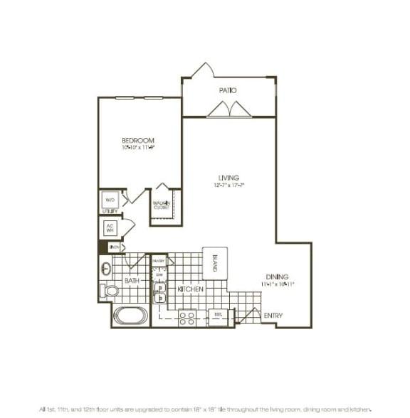 Floor Plan  One Bedroom Floorplan aerial view