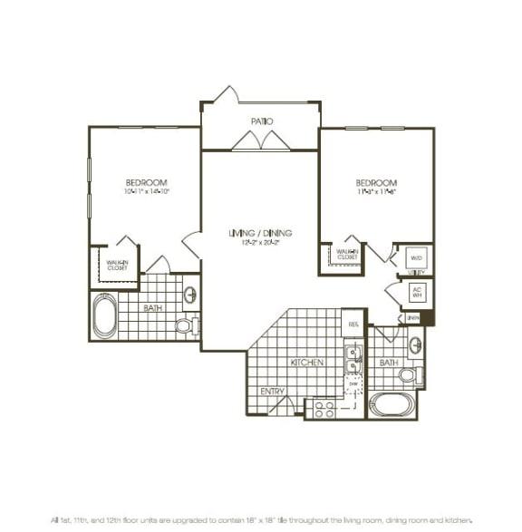 Floor Plan  Two Bedroom Floor plan aerial