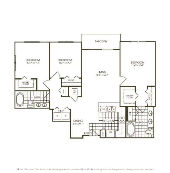 Floor Plan  Three Bedroom Floorplan in plantation florida