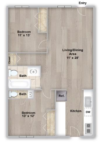 Two bedroom floorplan layout