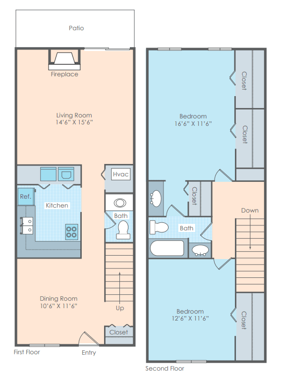 2 bedroom townhome layout
