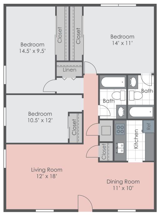 Three bedroom floorplan layout