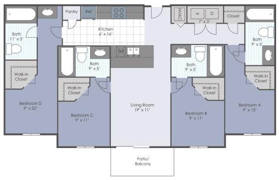 Four bedroom floorplan layout