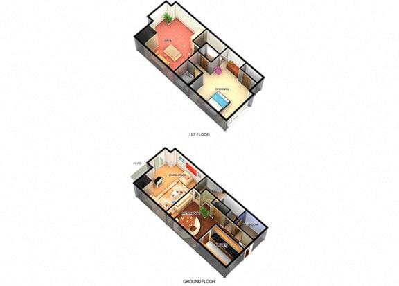 A3 One Bedroom One Bathroom at Enclave Apartments, Amarillo, TX
