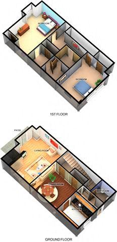 B4 2 Bedroom 1.5 Bathroom Floor Plan at Enclave Amarillo Apartments