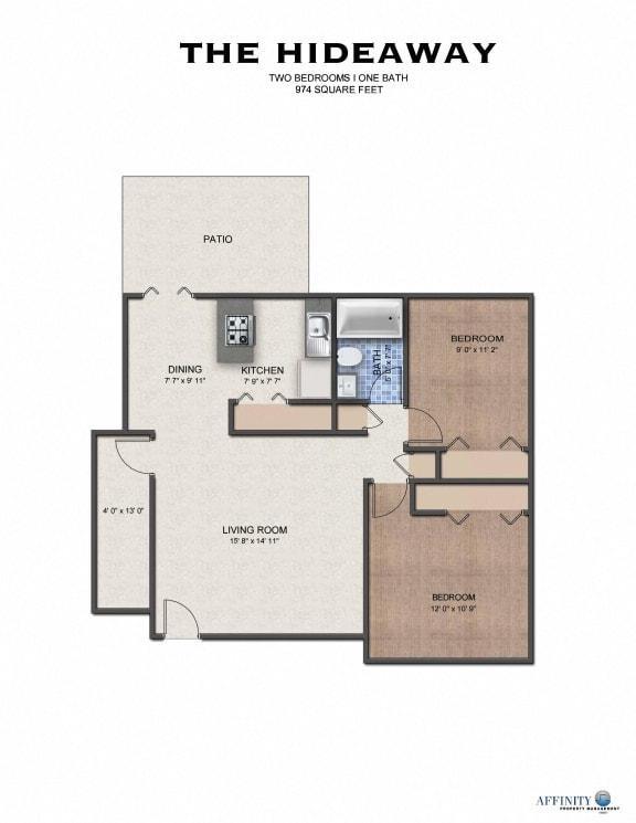 Floor Plan  The Hideaway Apartments Floor Plan