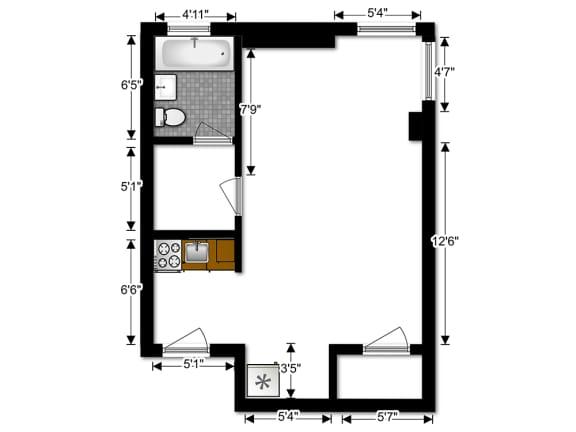 Capital Plaza Apartments Studio ST 2 Floor Plan