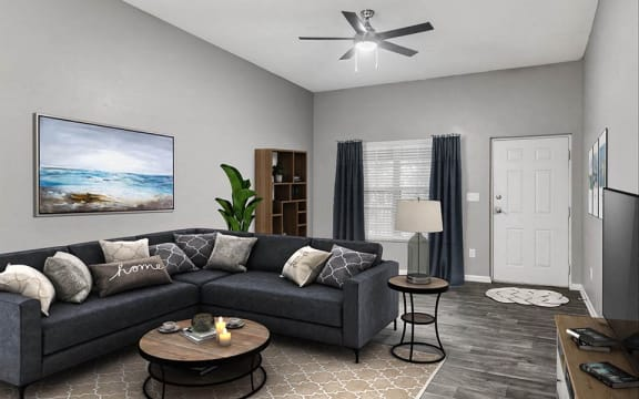 staged renovated unit living room