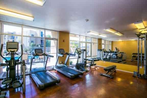 Fully equipped gym at Albuquerque apartments on Coors and Montano