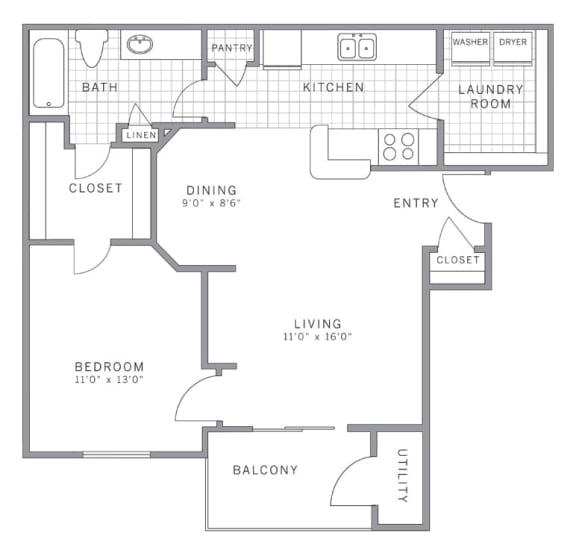 Floor Plan  A1 Floor Plan at AVE Somerset, New Jersey, 08873