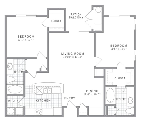 Floor Plan  B1 Floor Plan at AVE Clifton, Clifton, NJ