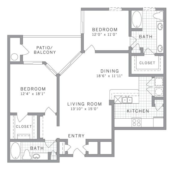 B3 Floor Plan at AVE Clifton, Clifton, New Jersey