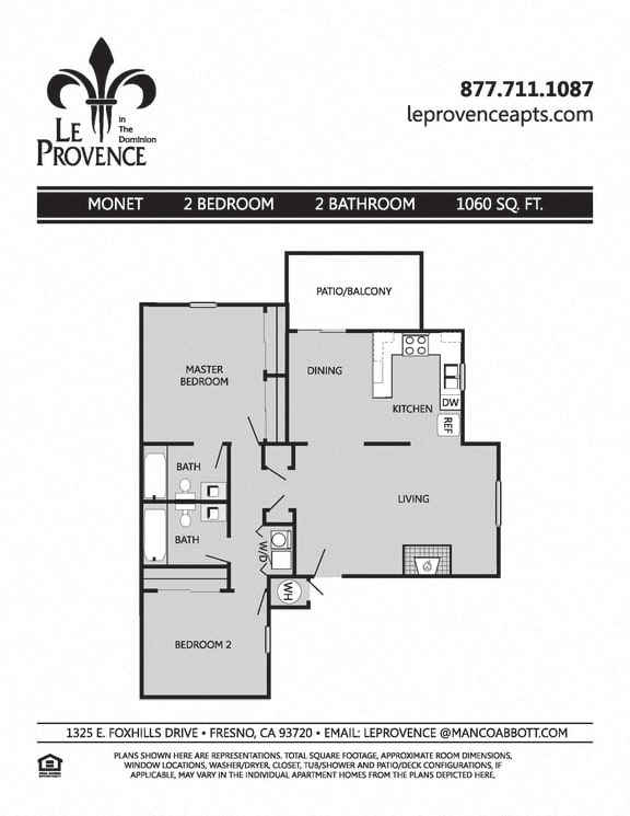 Floor Plan  Monet, Upstairs Floor Plan at Le Provence at the Dominion, Fresno, 93720