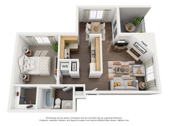 Floor Plan  1 Bedroom, 1 Bath, Downstairs Floorplan,at Park Ridge Apartments, Fresno, 93711