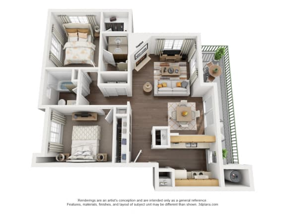 Floor Plan  2 Bedroom, 2 Bath, Upstairs,at Park Ridge Apartments, Fresno, CA