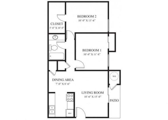 2 Bedroom 1 Bath floor plan.l The Grove Apartments in Davis CA