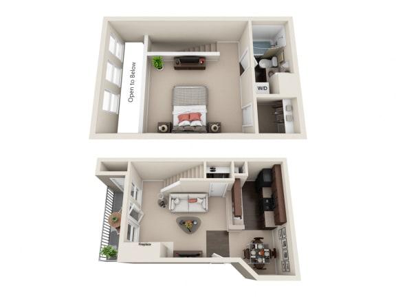 Floor Plan  1 BED 1 BATH  752 sq ft