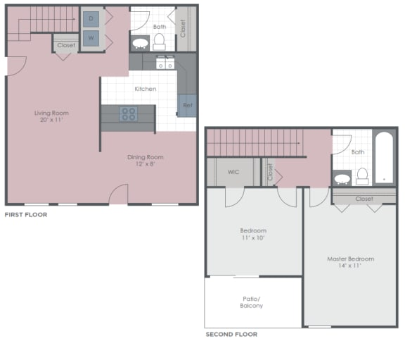 Floor Plan  2 Bedroom 1.5 Bath 1100 sq ft floor plan image